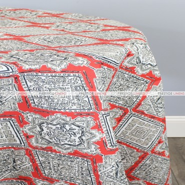 POLY PRINT MILAN TABLE LINEN - INDIAN CORAL
