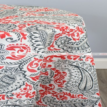 POLY PRINT SHANNON TABLE LINEN - INDIAN CORAL