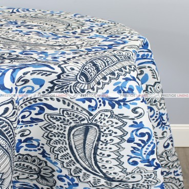POLY PRINT SHANNON TABLE LINEN - OXFORD COBALT