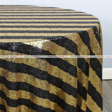 Striped Glitz Table Linen - Black Gold
