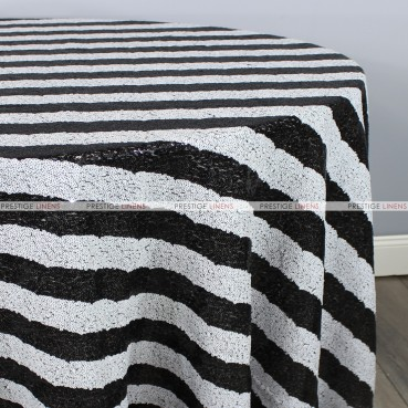 Striped Glitz Table Linen - Black White