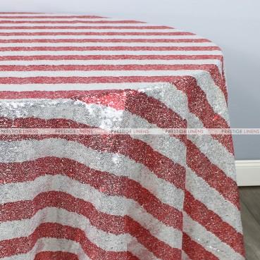 Striped Glitz Table Linen - Red Silver