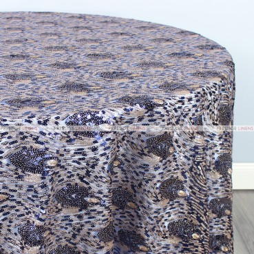 Peacock Sequins Table Linen - Navy Gold