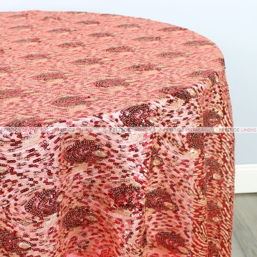 Peacock Sequins Table Linen - Red Gold