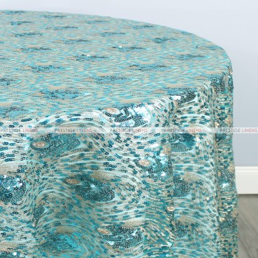 Peacock Sequins Table Linen - Turquoise Gold