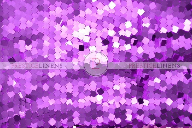 Dazzle Square Sequins Chair Caps & Sleeves - Purple