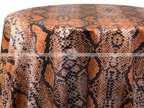 POLY PRINT RATTLE SNAKE TABLE LINEN - COPPER