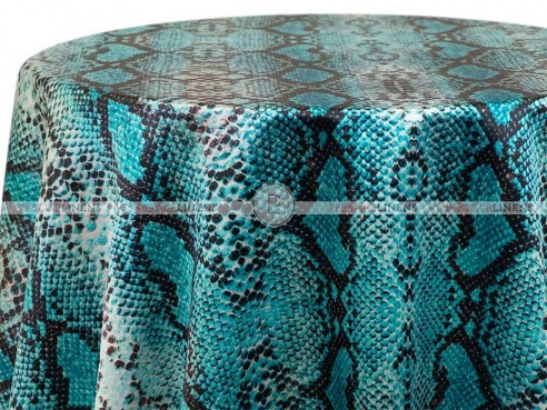 POLY PRINT RATTLE SNAKE TABLE LINEN - TURQUOISE