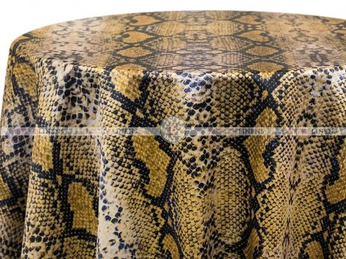POLY PRINT RATTLE SNAKE TABLE LINEN - YELLOW