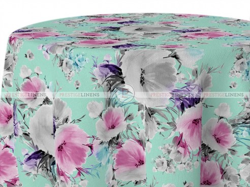 POLY PRINT VINTAGE FLORAL TABLE LINEN - AQUA