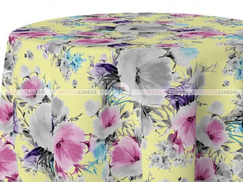 POLY PRINT VINTAGE FLORAL TABLE LINEN - MAIZE