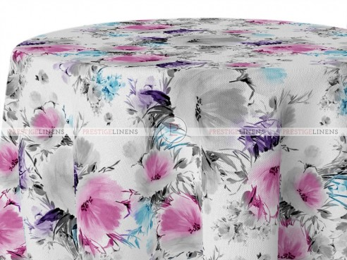 POLY PRINT VINTAGE FLORAL TABLE LINEN - WHITE