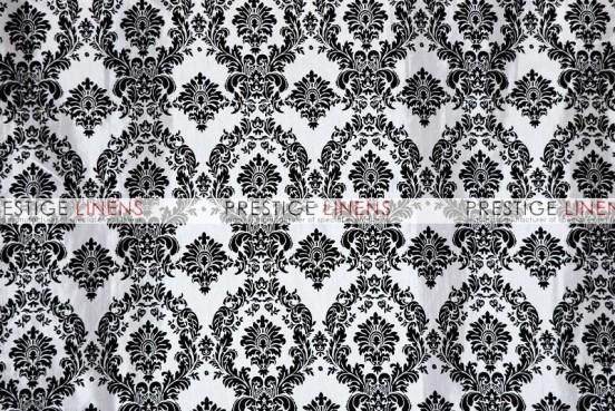 Flocking Damask Taffeta Napkin - White/Black