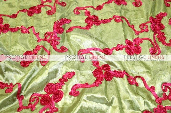 Ribbon Taffeta Pillow Cover - Lime/Fuchsia