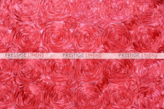 Rosette Satin Pillow Cover - Coral