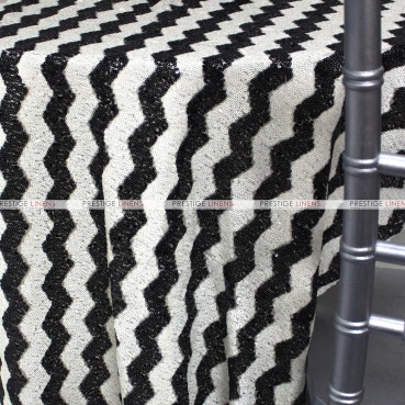 Chevron Glitz Table Linen - Black