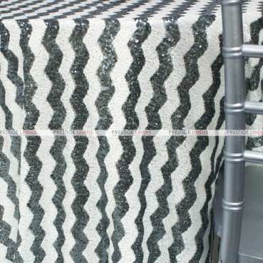 Chevron Glitz Table Linen - Grey