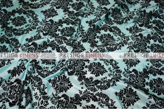 Flocking Damask Taffeta Table Linen - Aqua/Black