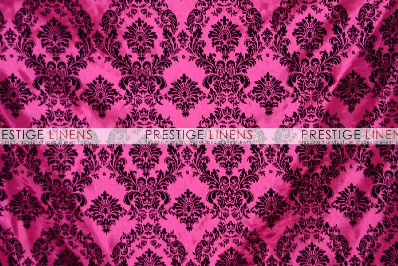 Flocking Damask Taffeta Table Linen   Hot Pink/Black