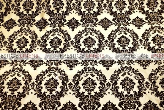 Flocking Damask Taffeta Table Linen - Ivory/Black