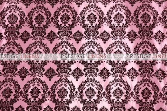 Flocking Damask Taffeta Table Linen - Pink/Black