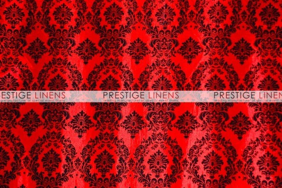Flocking Damask Taffeta Table Linen - Red/Black