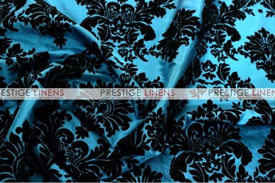 Flocking Damask Taffeta Table Linen - Teal/Black