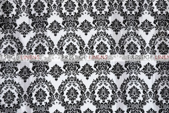 Flocking Damask Taffeta Table Linen - White/Black
