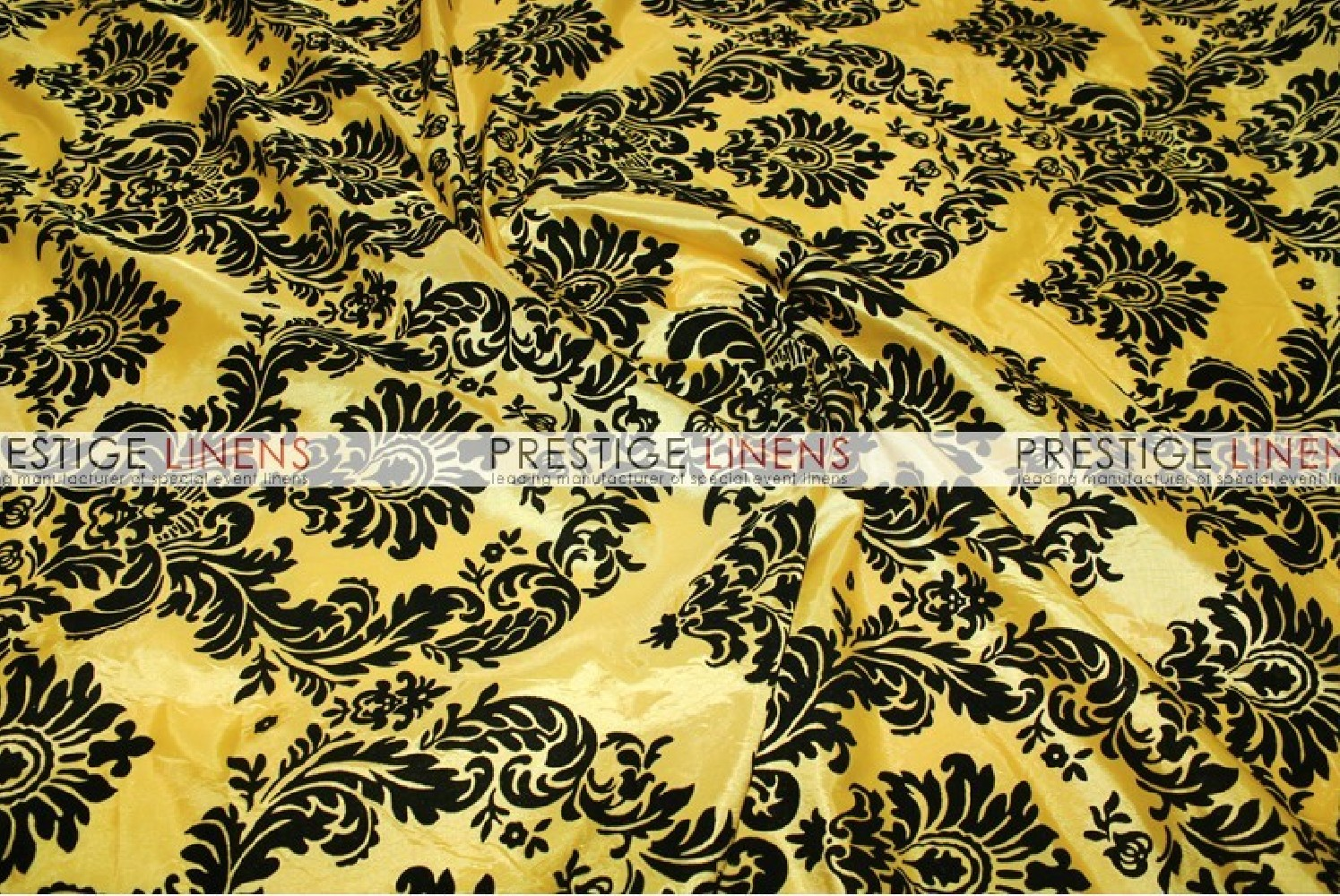Flocking Damask Taffeta Table Linen Yellow Black