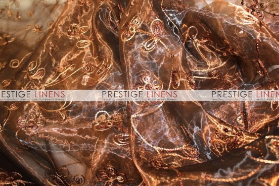 Floral Sequins Organza Table Linen - Brown
