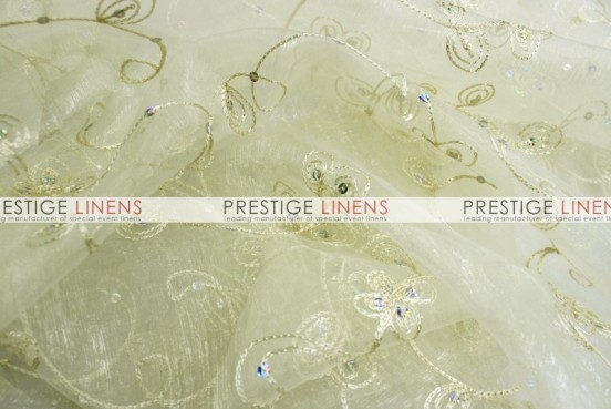 Floral Sequins Organza Table Linen - Ivory