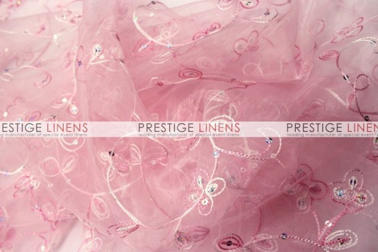 Floral Sequins Organza Table Linen - Lt Pink