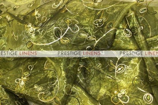Floral Sequins Organza Table Linen - Olive