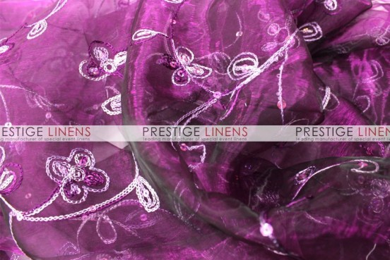 Floral Sequins Organza Table Linen - Plum