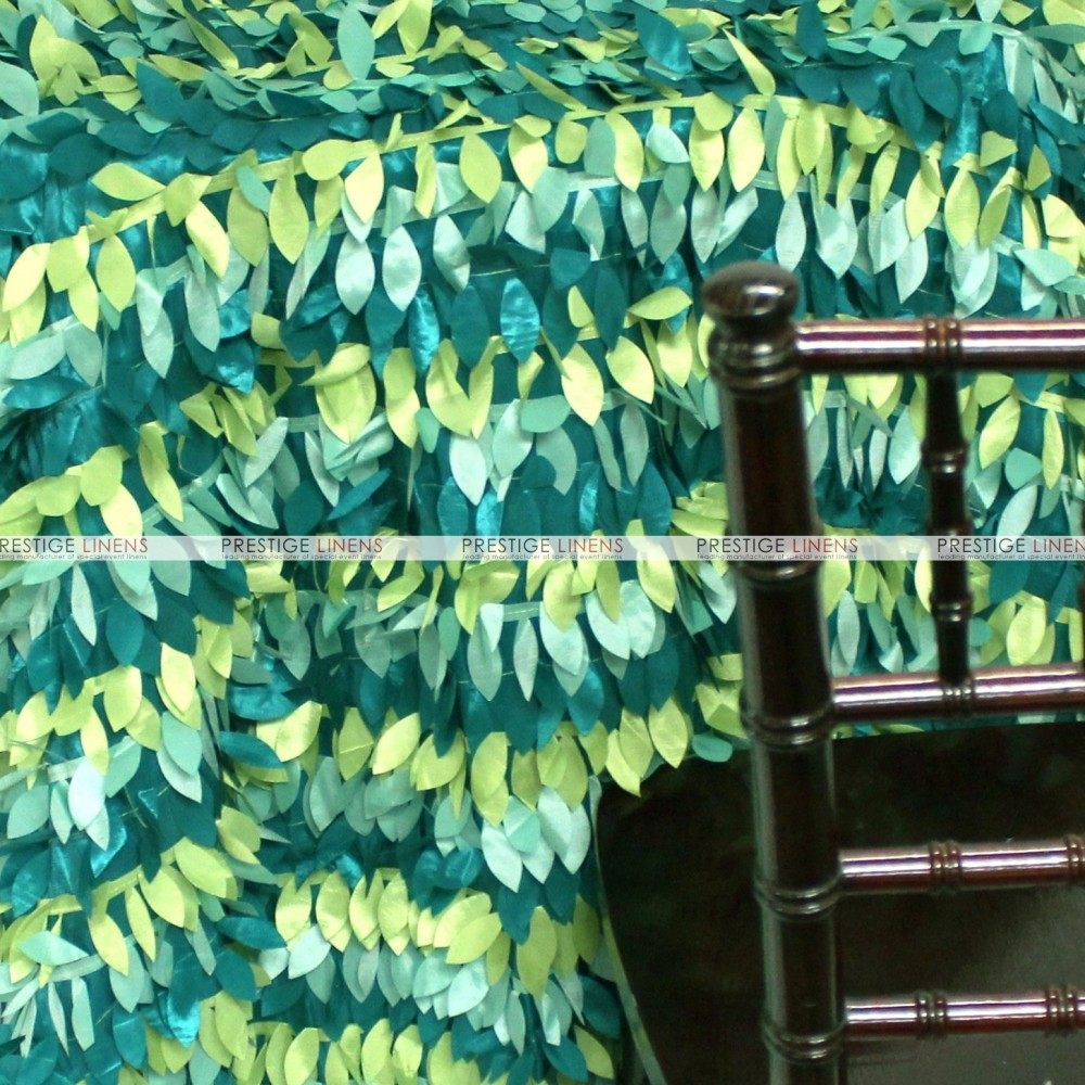 Leaf Petal Taffeta Table Linen Multi Teal Prestige Linens