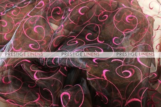 Organza Swirl Table Linen - Brown/Fuchsia