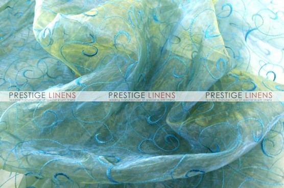 Organza Swirl Table Linen - Teal/Gold