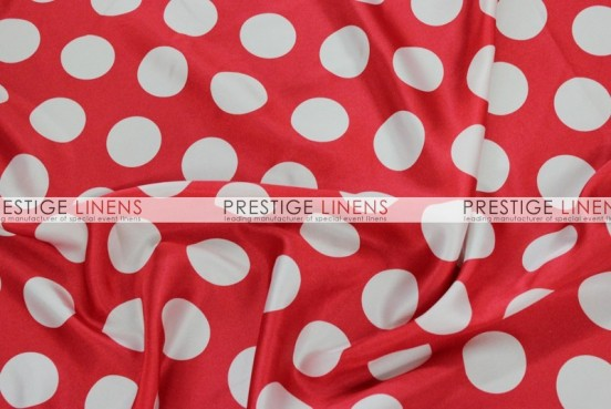 Polka Dot Print Charmeuse Table Linen - Red/White