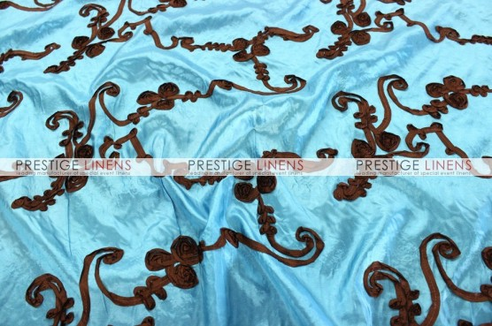 Ribbon Taffeta Table Linen - Teal/Brown