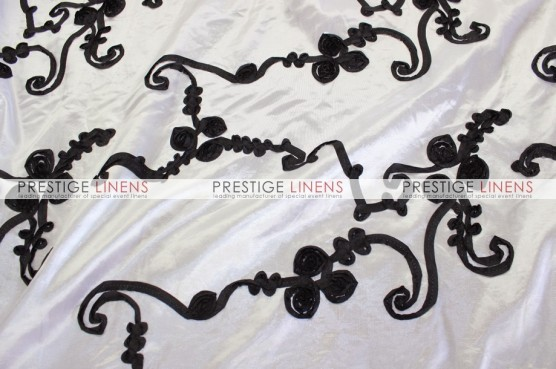 Ribbon Taffeta Table Linen - White/Black