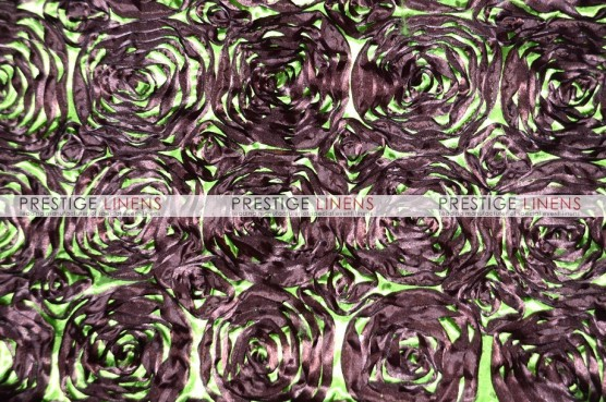 Rosette Satin Table Linen - Brown/Lime