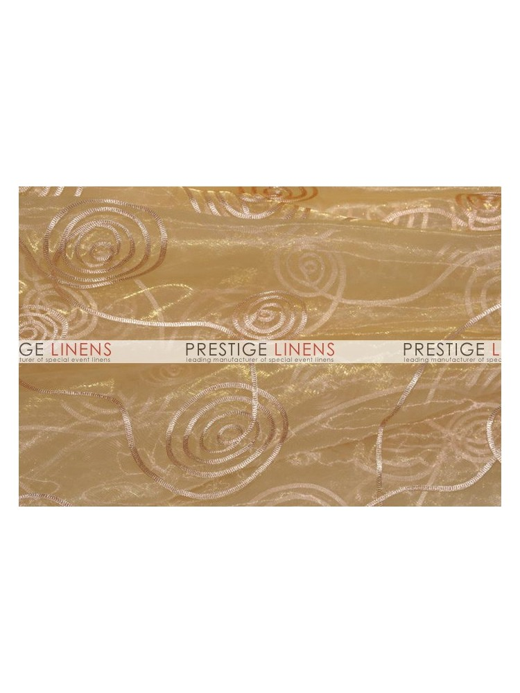 Spiral Ribbon Organza Table Linen 226 Gold Prestige Linens