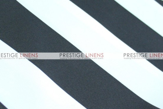 Striped Print Poly Table Linen - Black