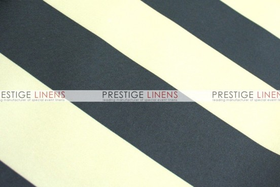 Striped Print Poly Table Linen - Khaki/Black