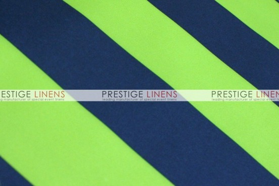 Striped Print Poly Table Linen - Lime/Navy