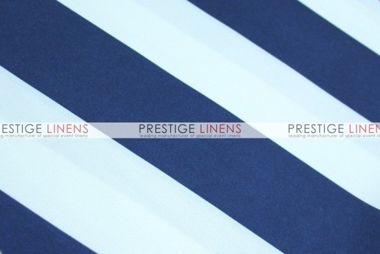 Striped Print Poly Table Linen - Navy