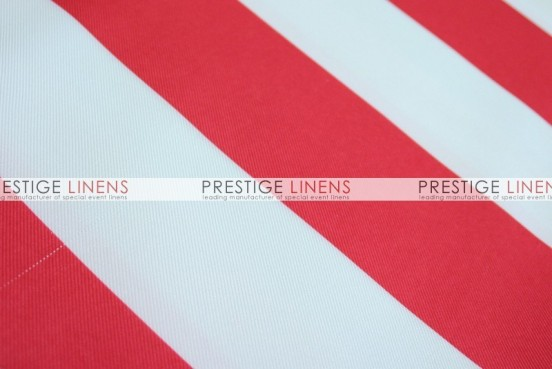 Striped Print Poly Table Linen - Red