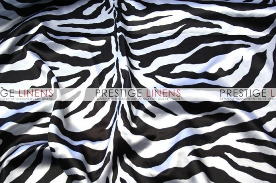 Zebra Print Charmeuse Table Linen - White