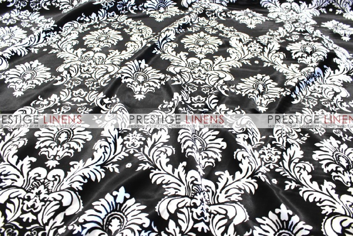 Damask Print Charmeuse Table Runner   Black/White