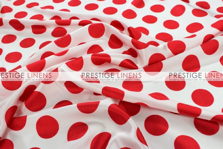 Polka Dot Print Charmeuse Table Runner White Red